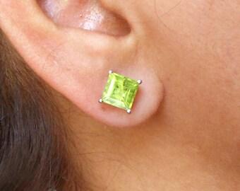 Peridot Stud Earring Sterling Silver Genuine Peridot Square Stud Earrings Natural Green Peridot August Birthstone Women Gemstone Earring