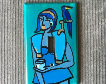 BLUE BIRD Light Switch Plate Hand Painted Wall Art Decor Home Cover Gift