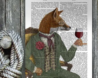 Woodland Animal Print - Wine Tasting Fox print fox portrait fox poster wine lover gift wine print fox wall art fox print home decor fox gift