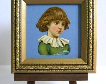 Vintage Oblaten Victorian Child Portrait Little Boy Ruffle Collar Die Cut Scrap Framed