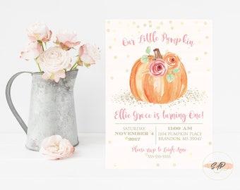 Pumpkin Birthday Invitation - Our Little Pumpkin is Turning One - Pumpkin Baby Shower Invitation - Fall Birthday Invitation - Fall Invite