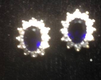 Classic Silver Earrings with blue lustre stones.