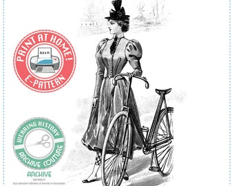 E-Pattern- 1897 French Bicycle Outfit Pattern- Bodice & Bicycling Bloomers- Wearing History Victorian PDF Sewing Pattern