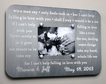 Metal Wedding Song Frame - Engraved With Your First Dance Lyrics or Vows, Custom Picture Frame, Personalized Gift, 10 Year Anniversary