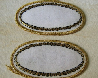 Epaulets - White with Black and Golden threads - Vintage Oval Patches