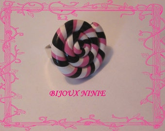 Rolled rose and black polymer clay lollipop ring