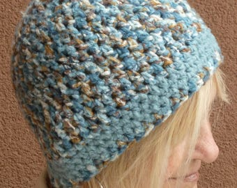 Beanie hat for women, original and unique brown, blue and white beanie, women's winter fashions, ladies' winter hat, comfortable crochet hat