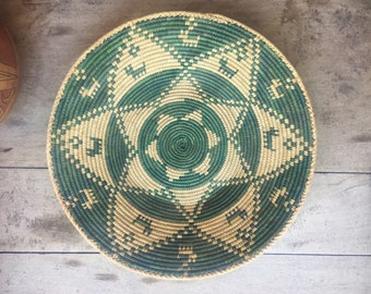 Coiled Basket Beige and Green, Bohemian Decor Jungalow Style Wall Hanging