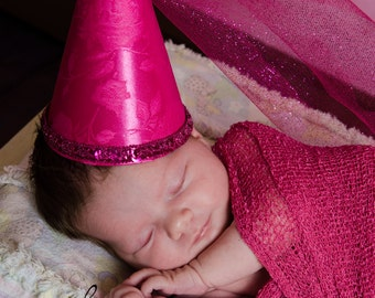 Adorable Infant sized Baby Girl Satin Brocade Princess Cone Hat  Photo Prop