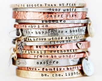 Personalized Jewelry / Gift For Her / Graduation Gift / Power Phrase Bangle / Travel Gift / Inspirational Bracelet / Positive Words