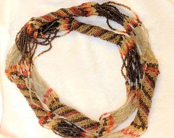 Vintage Boho Necklace - Multi Strand Seed Bead Necklace