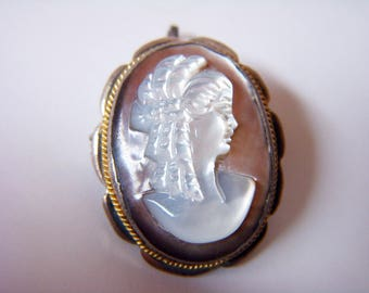 STERLING CAMEO PENDANT Brooch Mother Of Pearl