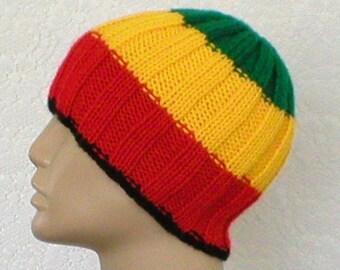 Beanie hat, black red gold green, striped hat, ribbed hat, beanie hat, toque, rasta hat, mens womens knit hat, striped beanie hat, chemo cap