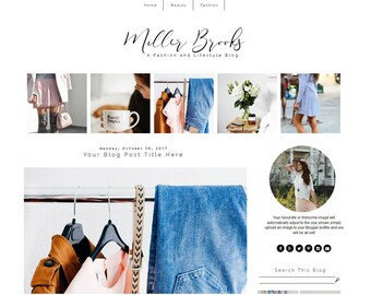 Fashion Blogger Template - Minimal Blog Theme - Blogger Template Responsive - Black and White Design