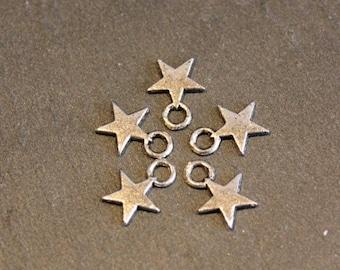 5 charms silver metal star