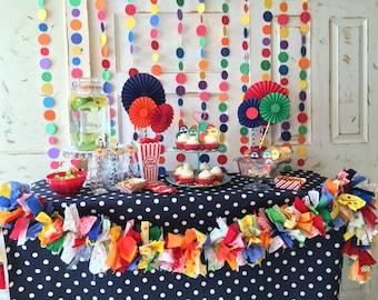 Carnival Party Paper Backdrop. Circus Garland Backdrop. Birthday Party Decorations CUSTOM colors TOO. Colorful circles polka dot garland
