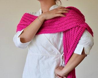 Knitted Wrap Scarf, Tassel Pink Scarf, Fuchsia Knit Scarf, Women Foulard, Boho Winter Scarf, Women's Gift, Christmas Gift,