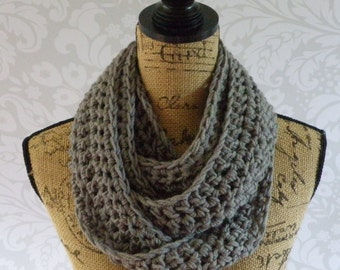 Infinity Scarf Crochet Knit Grey Gray Special Occasion Women's Accessories Eternity Fall Winter