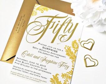 50th Anniversary Invitation   50th Wedding Anniversary Invitation   Golden Wedding Anniversary   50th Anniversary Invite  Golden Anniversary