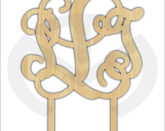 Cake Topper - 01584C- 3 letter Monogram, Unfinished Wood Laser Cutout, Wedding, Anniversary, Birthday