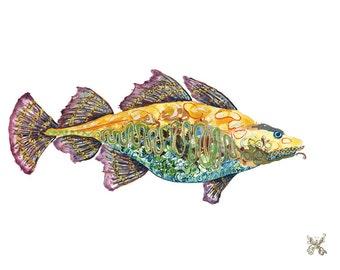 Fish // home decor// Art Print// boho // beach art // wall art  13 x 19, 11 x 14, 8.5 x 11, 8 x 10, 5 x 7