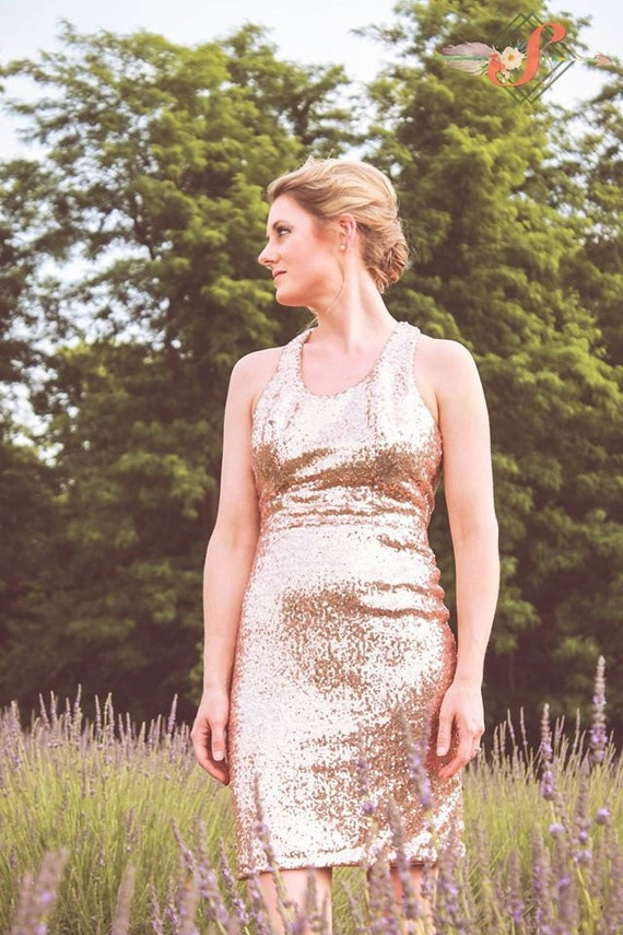 Sequin Bridesmaid Dress- Blush Sequin Dress, Scooped Neck, Razor Back, Body Con, Available in Other Colors- Made to Order- Made to Measure