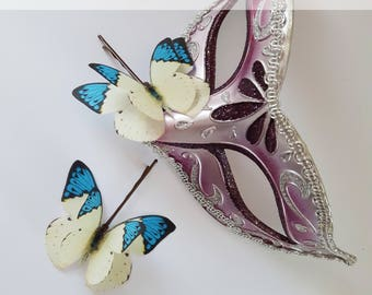 Silk Butterflies Hair Accessories Wedding Bridesmaid gift  bobby pin gift for her Woodland Wedding Set of 2