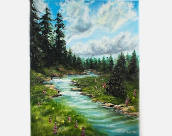 Forest River Original Oil Painting