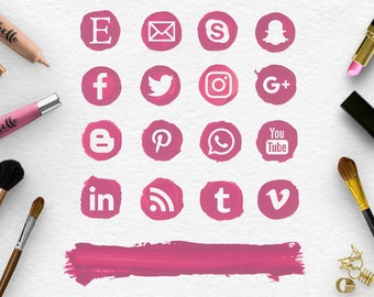 CRUSHED BERRIES, Follow Social Media Icons & Brush Stroke, Handpainted Pink Spots, Makeup Round Social Icons, Blog Buttons, BUY5FOR8
