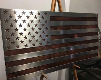 Stainless Steel American Flag