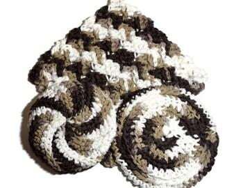 2 Brown and white hand crocheted cotton dishcloths and 1 un-sponge - 3 piece Set Cotton dish cloths - Handmade dishcloths - Cotton Dish rags