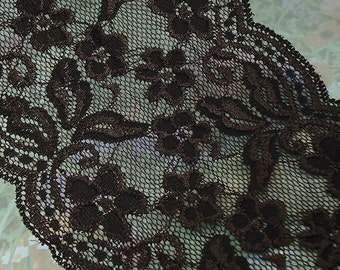 1yd Stretch Lace 5 1/2 inch Wide Dark Brown Floral Design Flower Trim Elastic Stretch Lace Headbands Elastic Lace by the yard