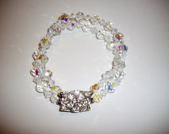 Vintage Crystal Bracelet Aurora Borealis Double Strand Faceted Beads Rhinestone Clasp