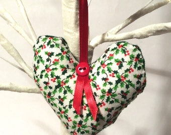 Crafty Christmas! Handmade Hand Stitched Stuffed Heart Christmas Ornament/Shabby Country Cottage Classic/Gift/Love/Xmas/Holiday