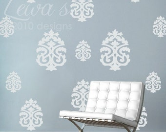 Damask Vinyl Wall Decal Accents - Set of 13