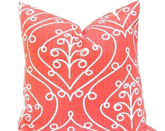 15% Off Sale Pillow Coral Pillow Cover Coral Throw Pillow Damask Pillow Coral Toss Pillow Coral Accent Pillow Salmon Decorative Pillow Cushi