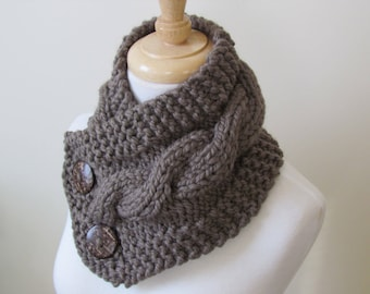 """Knit Neck Warmer, Cable Knit Scarf,  Chunky Warm Winter Scarf in Taupe 6"""" x 25"""" Coconut Shell Buttons Ready to Ship - Gift for Her"""