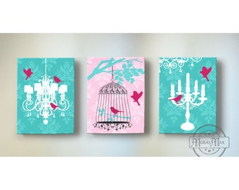 Chandelier Canvas Art, Baby Nursery Decor, Baby Girl Nursery Art, Set of tree wall art, Pink and Turquoise Girl Room Decor