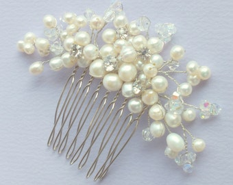 Pearl Florals - Freshwater Pearl and Swarovski Crystal Bridal Comb