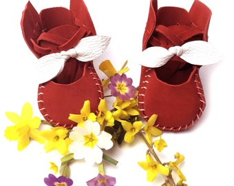 Red / White Suede Leather Baby Shoes & Moccs