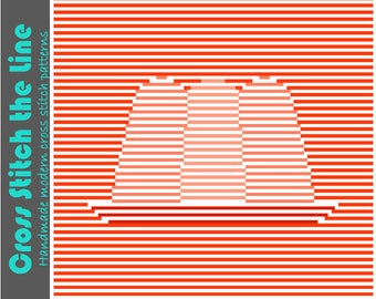 Minimalist cross stitch pattern. Modern cross stitch chart. Contemporary design. 'Wobbly jell-o'