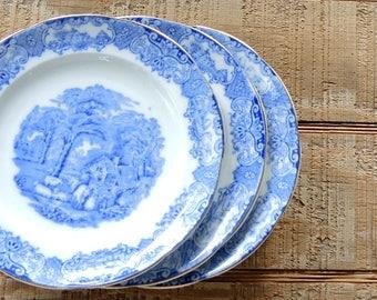 Heathcote Flow Blue Cake Plates, Set of 3, Rare, Wedding Plates, English Blue Transferware English China, Rustic, Replacement China