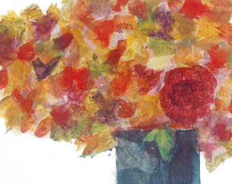Blank art Notecard.  Collage Art Floral note card. Mixed media. Floral notecard.  Red and yellow.