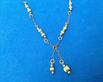 Vintage! Gold fill beaded lariat necklace - vintage piece.