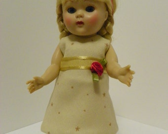 """7 1/2 """" Christmas Dress for Ginny, Madame Alexander, Muffie dolls - doll clothes"""