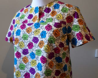 1960s top/summer top/floral top/Size M