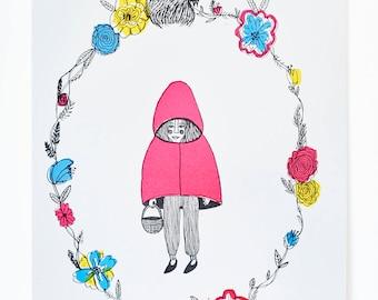 Red Riding Hood Illustration A3 Siebdruck primären Farben
