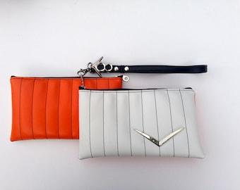 V8 Hot Rod Wristlet- Vintage White & Orange with Chevron Car Emblem