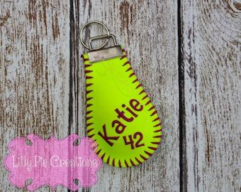Softball Keychain, Softball Coach Gift, Softball Senior Gifts, Softball Bag Tag, Softball Key Chain, Softball Gift, Made to Order
