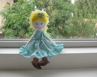 rag doll, handmade rag doll, cloth doll, handmade cloth doll, customizable doll, custom cloth doll, custom rag doll, floral dress, doll
